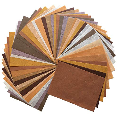 RATREE SHOP 60 Sheets Mixed Brown 8.5x12 Inches Mulberry Paper Sheet Design Craft Hand Made Art Tissue Japan Origami Washi Wholesale Bulk Sale Unryu Suppliers Thailand Products Card Making (N001)