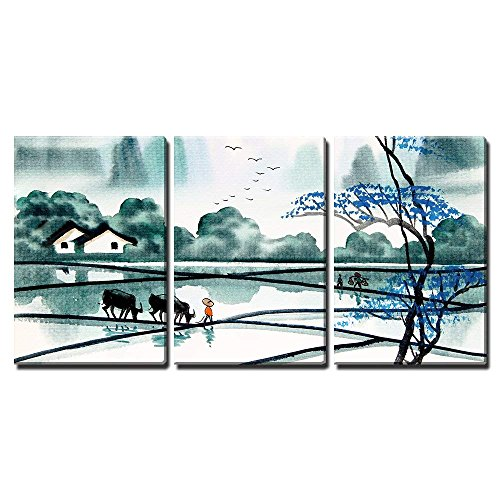 "wall26 - 3 Piece Canvas Wall Art - Chinese Landscape Watercolor Painting - Modern Home Decor Stretched and Framed Ready to Hang - 24""x36""x3 Panels"