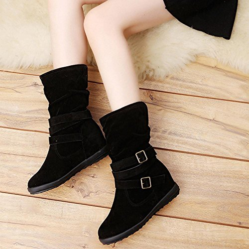 Trim Pump Platform (HOT Sale ,AIMTOPPY Ladies Womens Low Wedge Buckle Biker Ankle Trim Flat Ankle Boots Shoes (US:9, Black))