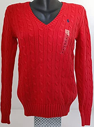 NUEVO V-NECK RED PARA MUJER POLO RALPH LAUREN CABLE AZUL MARINO ...