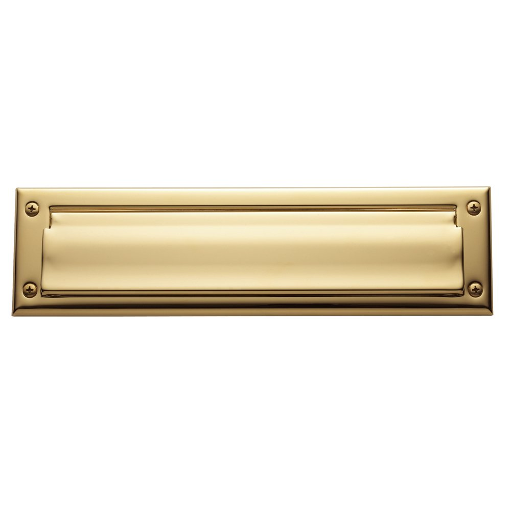 Baldwin Estate 0012.003 Letter Box Plate in Polished Brass, 13'' x 3.625''