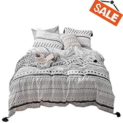 VClife Cotton Queen Bedding Sets Duvet Cover Sets Modern Black White Arrow Herringbone Geometric Pattern Comforter Quilt Cover Queen 1 Duvet Cover 2 Pillowcases Hotel Quality Lightweight Durable (And White Black Set Duvet)