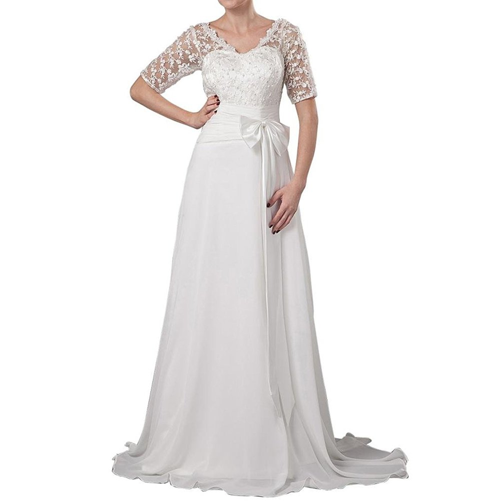 White H.S.D Mother of Bride Dresses Short Sleeves Floor Length Evening Gowns