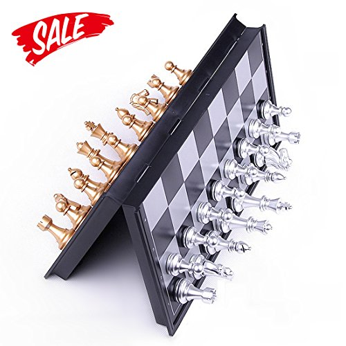 Chess Aluminum (Chess Set - HoveBeaty Portable Classic Folding Travel Magnetic Chess Set with Aluminum Plating, 9.7 x 9.7 x 0.8 Inch)