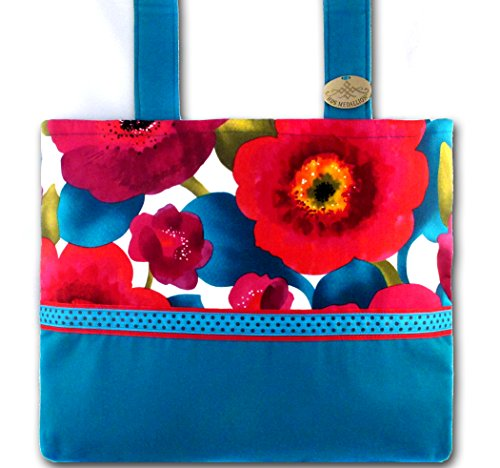Poppy Punch Caribbean Blue - Bright Floral, Functional Walker Bag by HDS Medallion