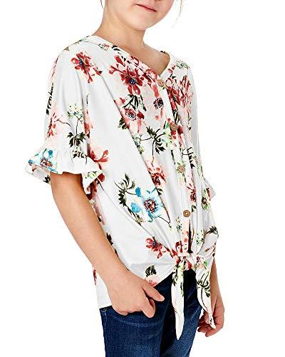 Geckatte Girls Floral Boho Short Sleeve T Shirt Kimono V Neck Button Down Boho Outfit Casual Tops Blouses 3