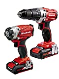 Einhell 4257214 Power X-Change 2.0 Ah 18 V Combi Drill and Impact Driver - Pack of 2 - Red