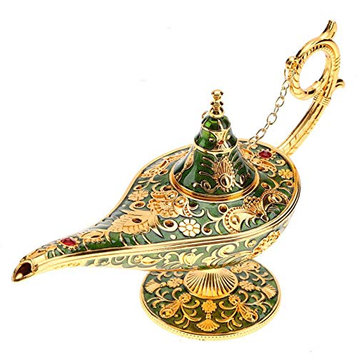 Aladdin Costum - 1pc Aladdin Lamp Metal Carved Hollow Legend Magic Genie Light Wishing Pot Decor - Miniatures Metal Silver Figurines Figurines Miniatures Lamp Aladdin Decor Magic Ghee Cos ()