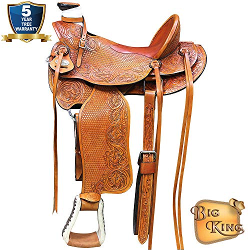 17'' HILASON Big King Western Wade Ranch Roping Cowboy Trail Saddle
