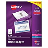 Avery Top-Loading Garment-Friendly Clip Style Name Badges, 3