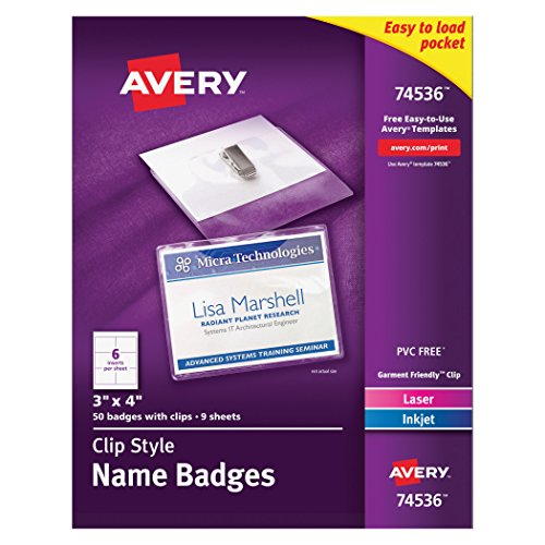White adhesive name badges 2 1 3 x 3 3 8 pack of 80 for Avery id badge template