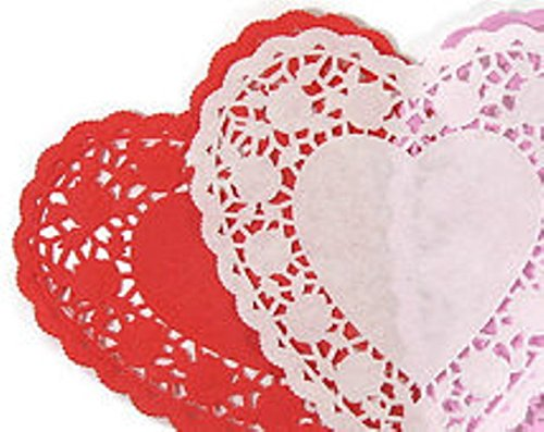 Hygloss 91069 100-Piece Heart Doilies, 6-Inch, White and Red
