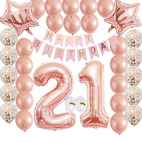Girl Happy 21st Birthday Rose Gold Party Decorations Supplies Gifts Confetti Latex Balloon Favors for Women and Her as Wedding Anniversary Dropback