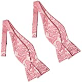 KissTies 2 PCS Bow Ties Rosy Pink Self Tie Paisley Bowties+ Gift Box
