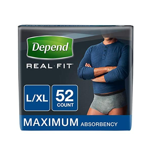Depend Real Fit Incontinence Underwear for Men, Maximum Absorbency, L/XL, Grey, 52 Count