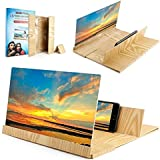 12 inch Brown Smartphone Screen Magnifier for Lenovo Yoga Tablet 2 3D Phone Enlarger [Anti-Radiation] Movie Screen Amplifier Bracket Desktop Foldable Wooden Stand for iPhone 11/11 Pro Max XS/XR/8
