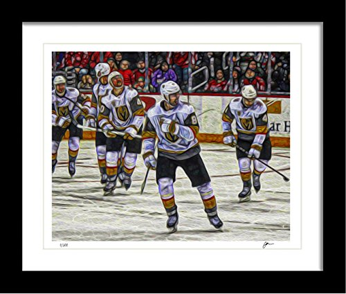 Ombura Vegas Golden Knights Handmade Art Print. Signed Limited Edition Painting Print Artwork, Only 500 Available - 8x10, Great Home Decor Gift Idea for Any Vegas Fan - Frame Not Included.