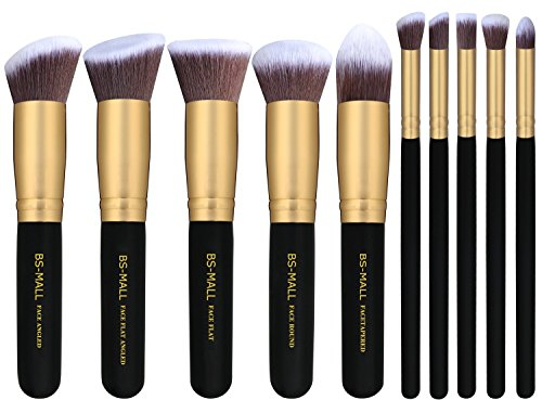 BS-MALL(TM) Premium Synthetic Kabuki Makeup Brush Set Cosmetics Foundation Blending Blush Eyeliner Face Powder Brush Makeup Brush Kit (10pcs Golden Black)
