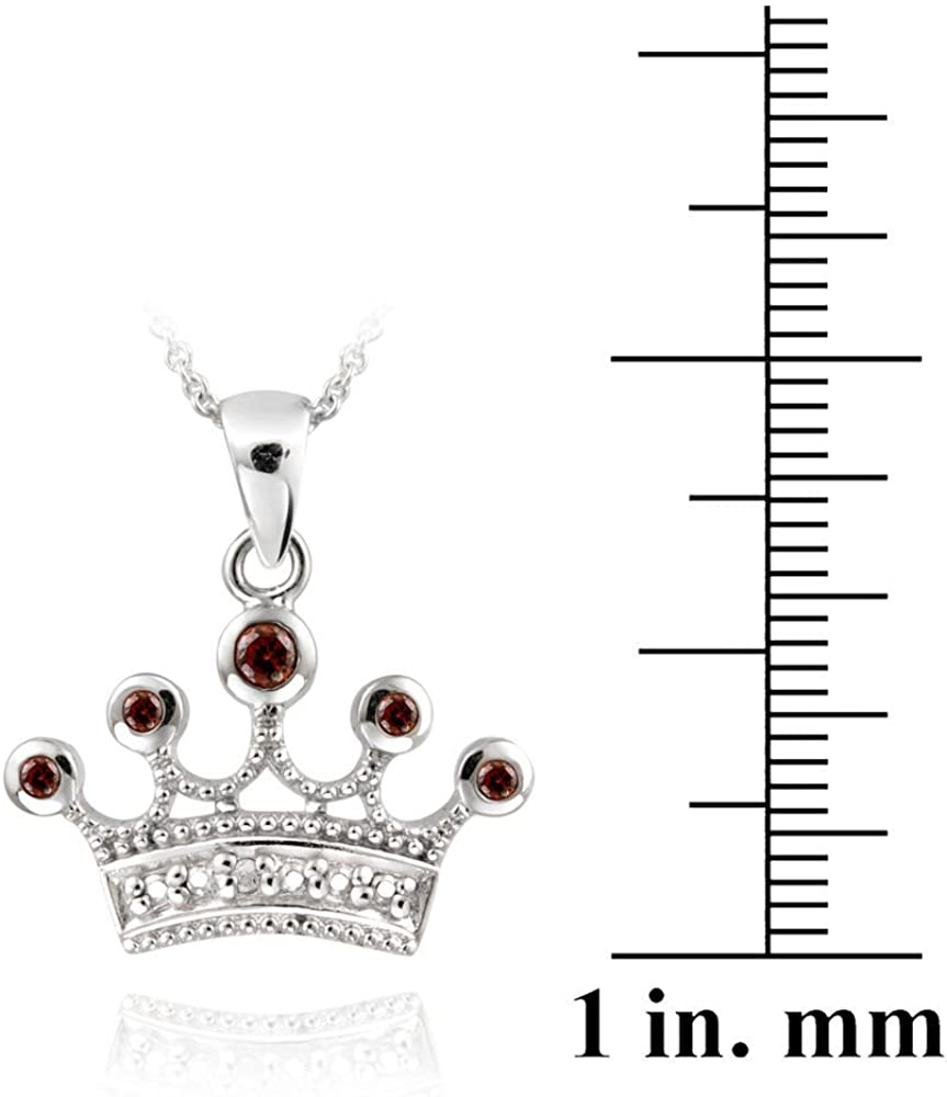 Glitzs Jewels Sterling Silver Garnet /& Simulated Diamond Accent Crown Necklace 18