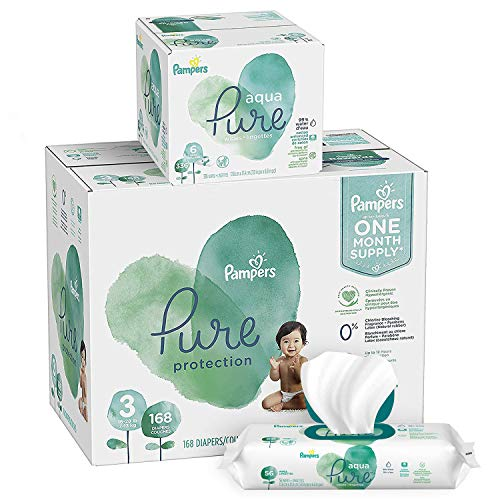 (Pampers Pure Protection Diapers Size 3 168 Count with Aqua Pure 6X Pop-Top Sensitive Water Baby Wipes - 336 Count)