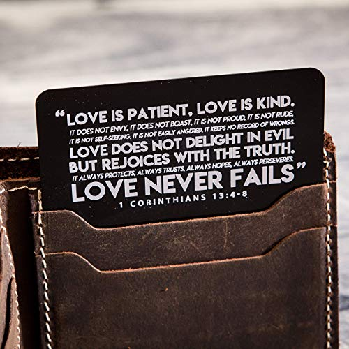 Love Is Patient 1 Corinthians 13:4-8 Engraved Metal Wallet Insert Card with Burlap Gift Pouch - Anniversary Gift for Husband - I Love You Quote Reminder Note Card from Wife