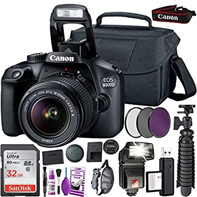 Canon EOS 4000D (Rebel T100) DSLR Camera and EF-S 18-55 mm f/3.5-5.6 is III Lens (International Version) + 32GB Memory Card + Camera Bag + MiniTripod + Flash