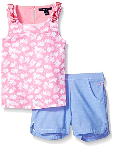 Nautica Little Girls' Graphic Tee Knit Top with Woven Short Set, Light Pink, 6