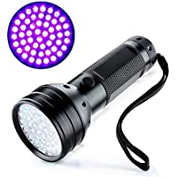 UV Flashlight blacklight torch 51 LED Super Bright Powerful Black Light Torch Ultraviolet Blue light CHECK FOR NITS/LICE Detect for Dog Cat Animal rodent Urine Pet Stains on carpets rugs floors walls car home. Bed Bugs or stains in Hotels. Check Currency. And Documents Authenticity nIght fishing,gem fossicking