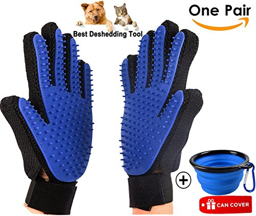Pet Grooming Gloves, Dog Shedding Brushes Gloves Pet Hair Remover Glove Massage Tool with Enhanced Five Finger Design Perfect for Dogs & Cats with Long & Short Fur(Blue,1 Pair Glove with 1 Pet Bowl)