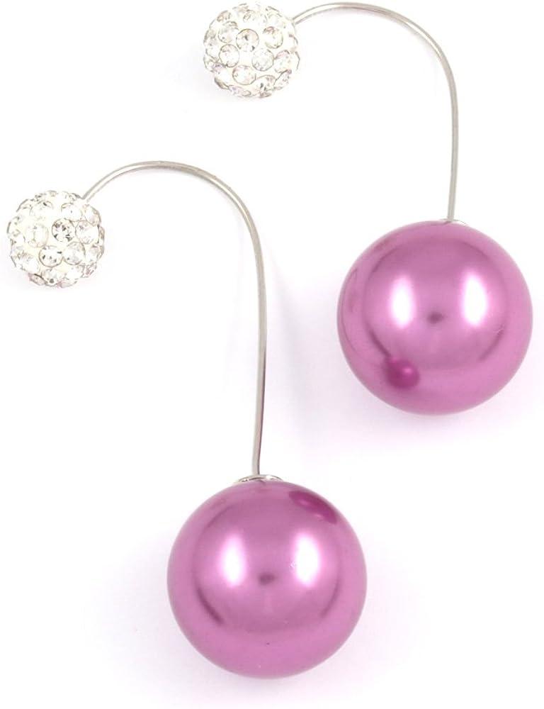 Medio de acrílico de la orquídea Idin - grano de la perla con bola de cristal de doble cara de oreja pendientes de chaquetas