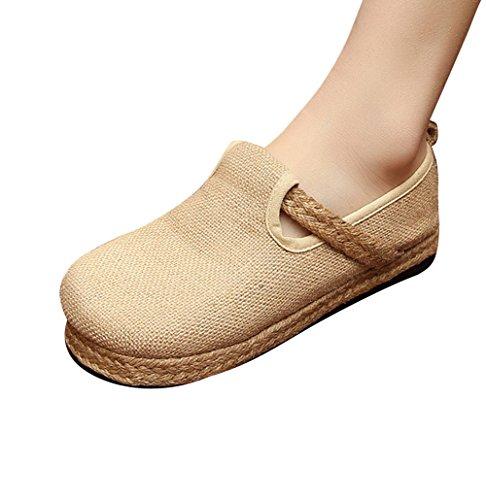 MISSMAO Beige Plataformas Chino Mujeres Vintage Zapatos Alpargatas Planas Bombas Planos Damas Planas xUAxwPq1