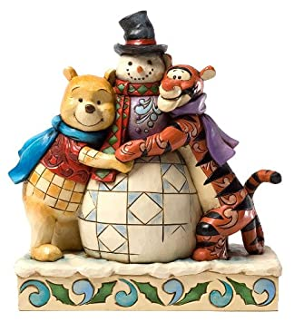 Jim Shore for Enesco Disney Traditions Pooh and Tigger with Snowman Figurine, 6.75-Inch