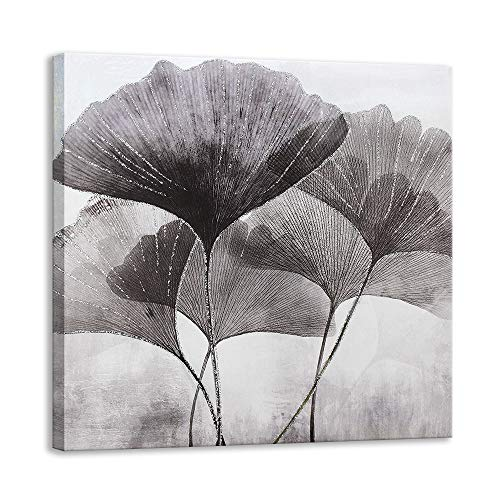 Kas Home Ginkgo Leaves Plant Canvas Wall Art | Silver Glitter Crystals Prints Large Framed | Perfect Nature Artwork Decoration for Living Room, Office & Home Wall Decor (24 X 24 inch, B Framed)