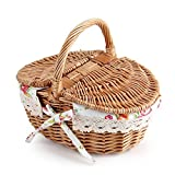 Wicker Oval Picnic Storage Floral Basket Food Cloth Organizer Shopping Hamper Double Lidded Linen for Holiday Camping Room Gift Decor