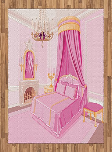 Princess Area Rug by Ambesonne, Interior of Magic Princess Bedroom Old Fashioned Ornament Pillow Mirror Print, Flat Woven Accent Rug for Living Room Bedroom Dining Room, 5.2 x 7.5 FT, Pink Yellow by Ambesonne