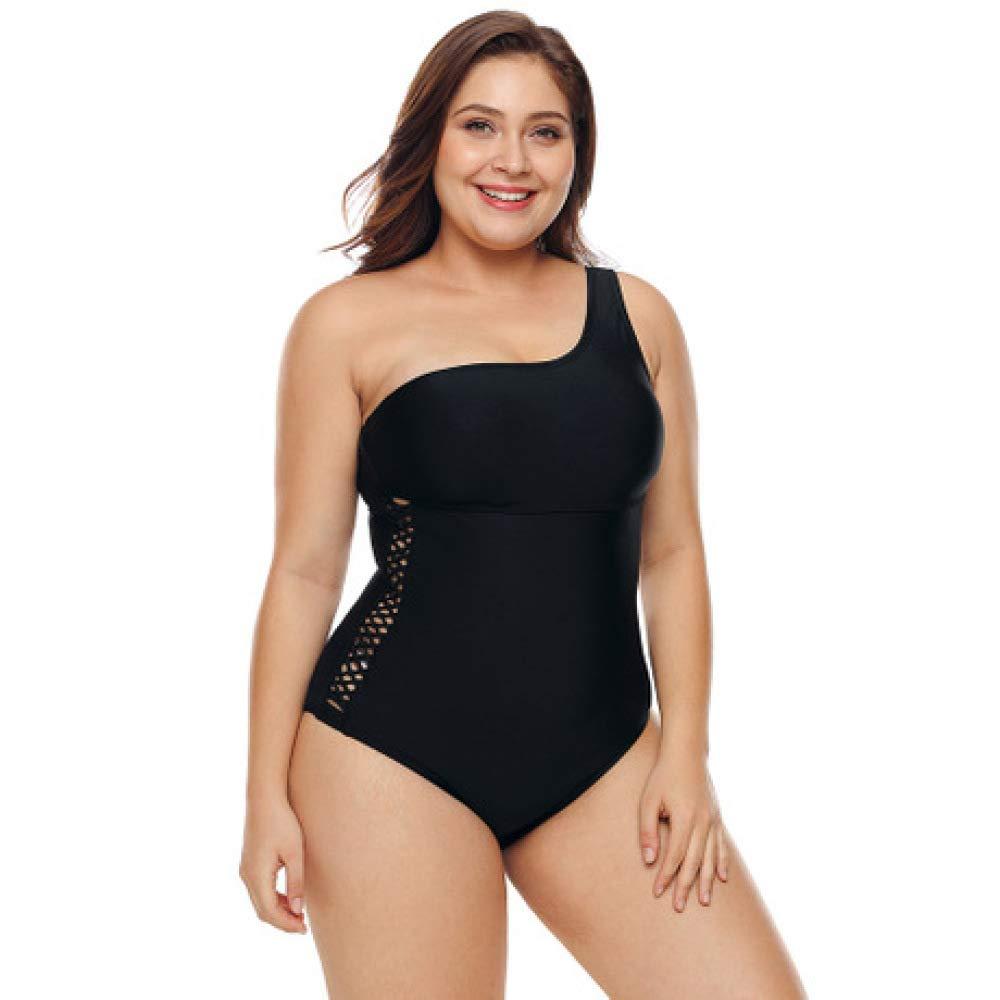 XXL Circlefly Maillot de bain une pièce maillot de bain femme ventre sexy épaule col oblique Maillot de bain XL