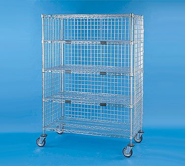 Nexel XS548EP Exchange and Linen Transport Truck, Standard Duty, 5 Wire Shelves, Three Sided Enclosed, 24