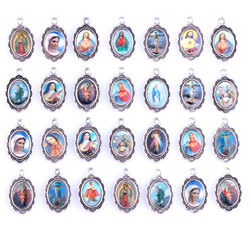 - 50pcs Mix Picture Cross Jesus Enamel Our Lady Virgin Mary Miraculous Medal Floral Rosary Centerpiece Alloy Crucifix Cross Mother's Day Pendants Charms (11553)