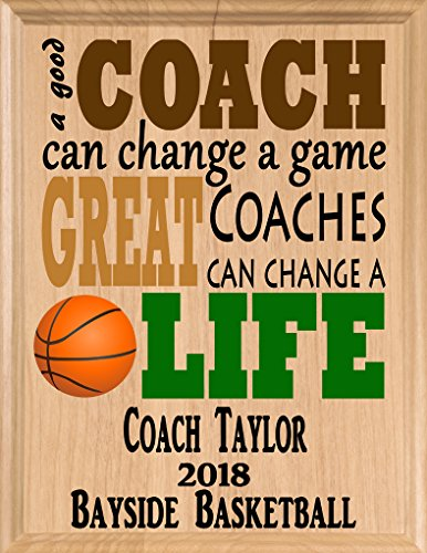 (Broad Bay Basketball Coach Gifts Personalized Coaches Gift Appreciation Thank You Plaque)
