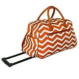 DH Orange White Chevron Pattern Carry On Rolling Upright Duffle Bag, Beautiful Zigzag Stripe Themed Duffel, Horizontal Striped Travel Duffel Bag, Wheeling Luggage, Lightweight, Sofsided, Fashionable