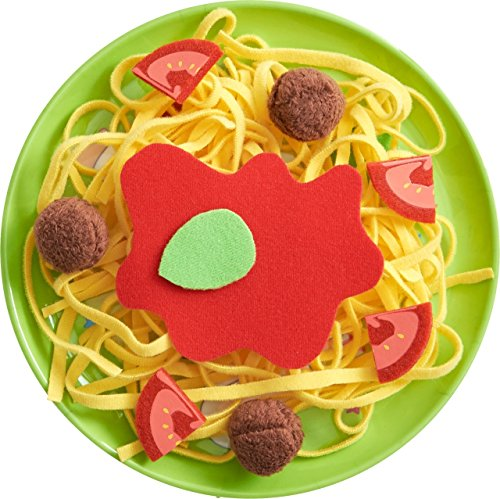 HABA Biofino Spaghetti Bolognese Polyester Pasta and Meatballs - for Pretend Role Play Dinner Fun