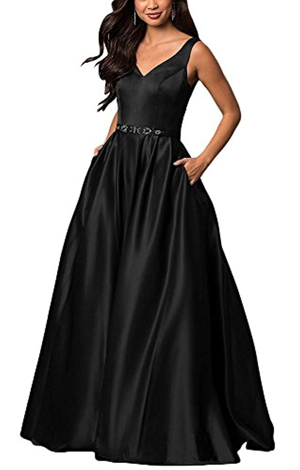 Black YHFDRESS Vintage Beaded A Line Evening Dresses V Neck Ruffles Satin Formal Party Gowns
