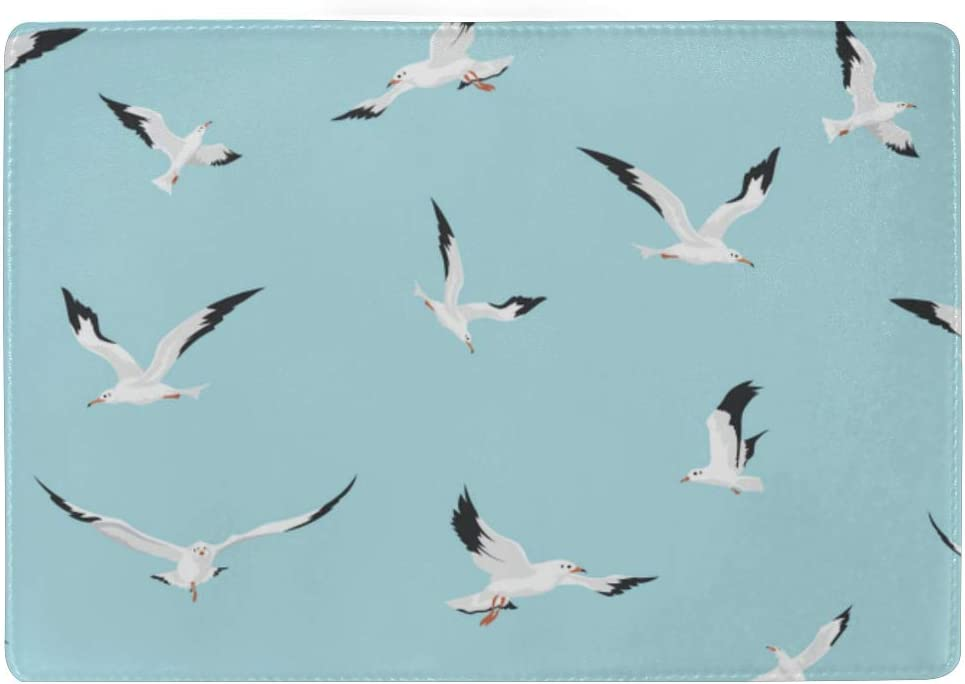 Nautical Birds Marine Seagulls Blocking Print Passport Holder Cover Case Travel Luggage Passport Wallet Card Holder Made With Leather For Men Women Kids Family