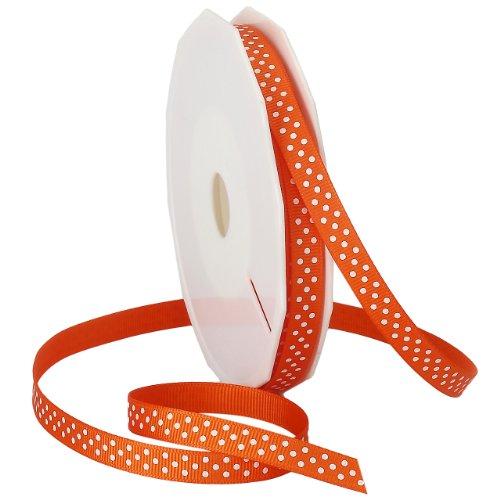 Polyester Grosgrain Ribbon - Morex Ribbon Swiss Dot Polyester Grosgrain Ribbon, 3/8-Inch by 20-Yard Spool, Pumpkin