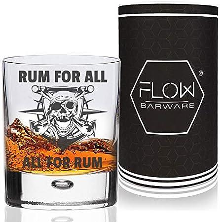 Vaso de cristal de ron con el lema All for Rum and Rum for All Perfecto para mojitos, cócteles y bares.