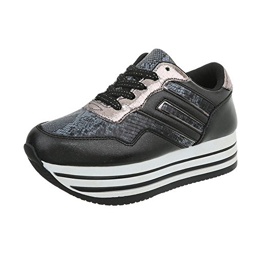 Ital Low Scarpe Piatto Sneakers Nero Da design Sneaker 2410 Donna O7qFPO
