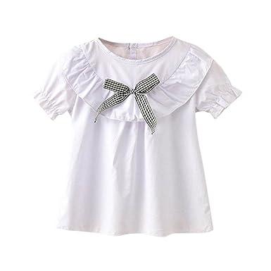 723c1a05986937 Minisoya Summer Children Kids Baby Girls Princess Puff Sleeve Ruffle T-Shirt  Tops Casual Cute