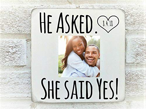 Amazoncom He Asked She Said Yes Photo Frame Engagement Gifts