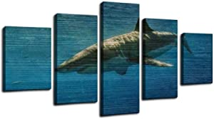 cage diving with great white sharks in guadalupe, mexico great white Framed Art Wall Painting Pictures Canvas Prints Gallery Wrapped Poster Home Office Living Room Wall Decor Ready to Hang 5 Panel