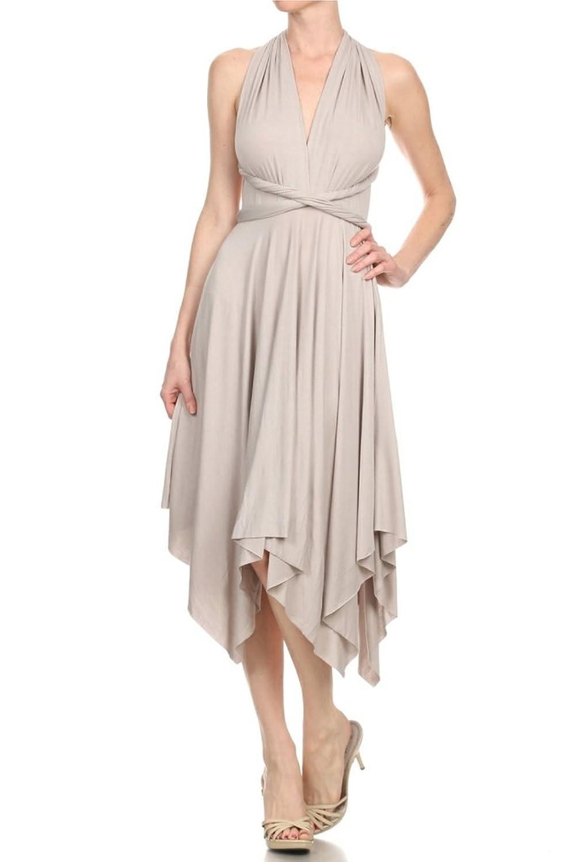 Fashion Convertible Multi Way Twist Wrap 8 Ways to Wear Knee Length Dress